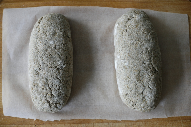 Rye loafs ready for oven